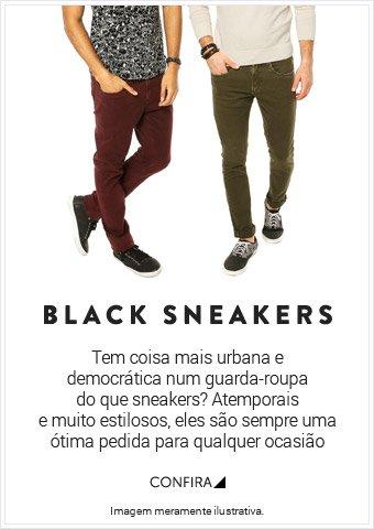Black Sneakers Tem coisa mais urbana, e democrática num guarda-roupa do que sneakers? Atemporais e muito estilosos são sempre uma otima pedida para qualquer ocasião.- Confira!